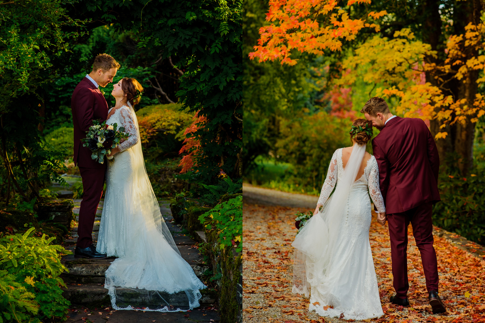 Couple walks on the grounds of Blaylock mansion during their autumn wedding