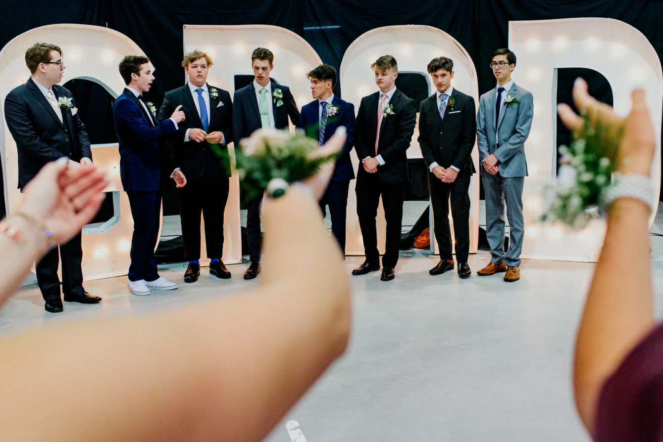 Boys pose for photo at LVR secondary school graduation in nelson bc