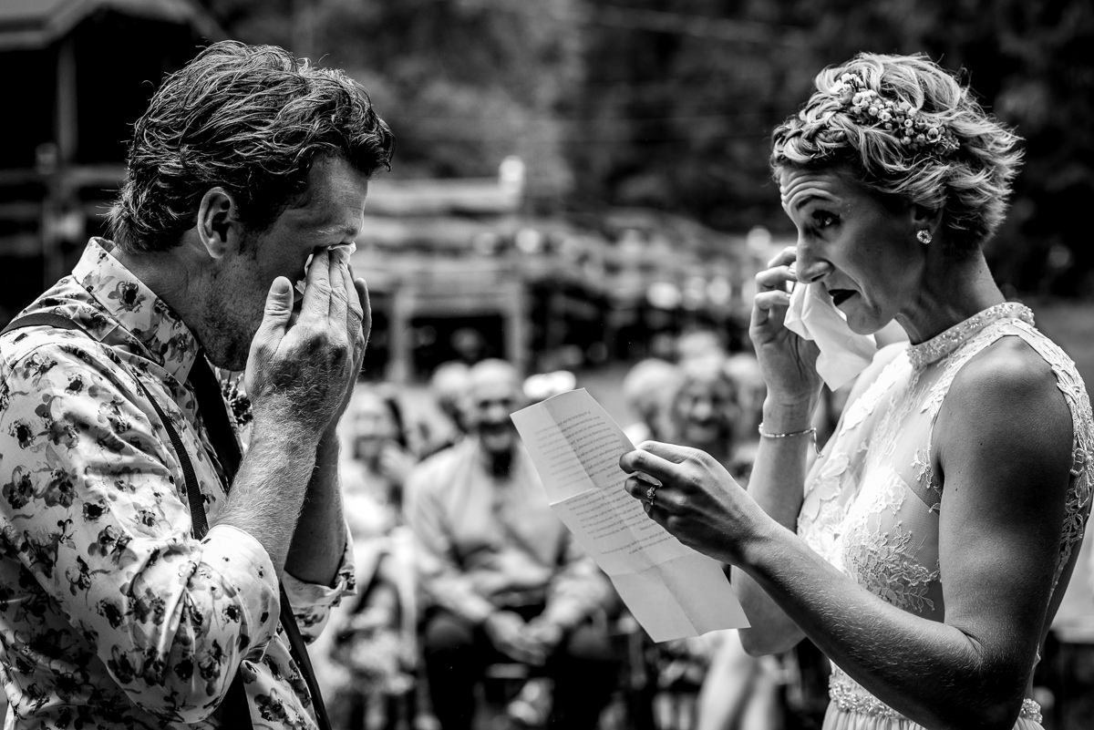 Bride and groom cry during vows at vallican whole community centre wedding