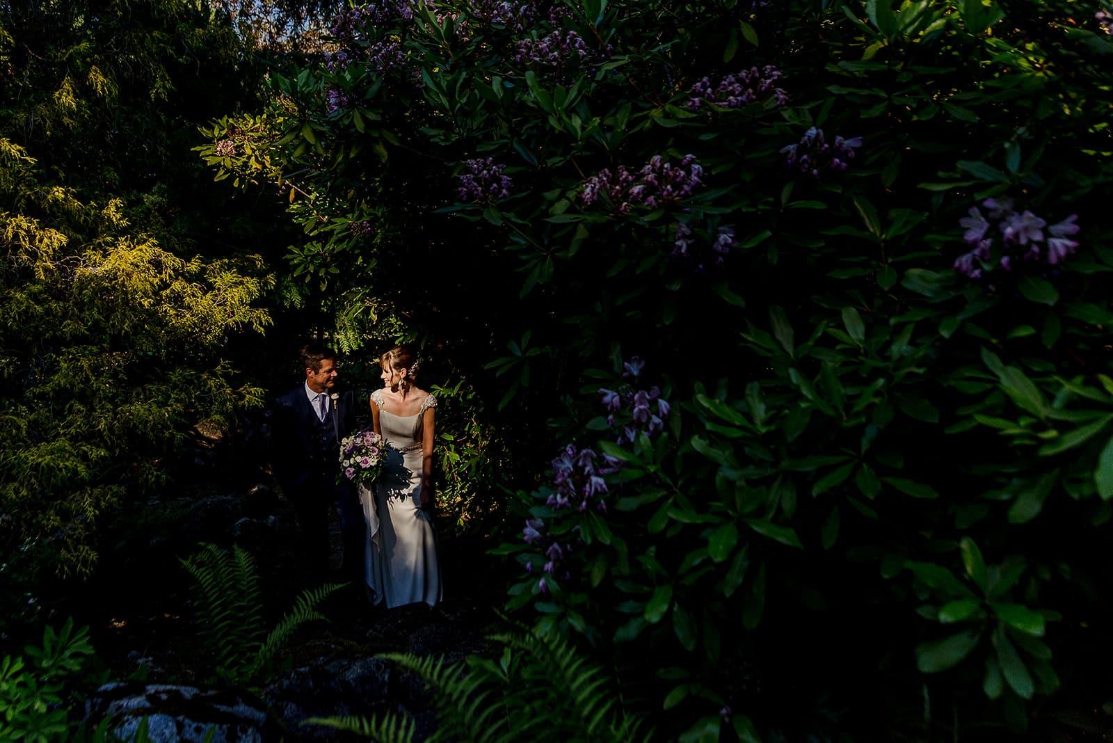 Blaylock Mansion wedding photo in garden above the mansion