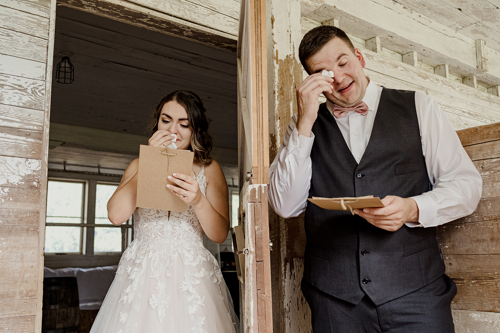 Bride and groom cry during first look at the ayrshire wedding